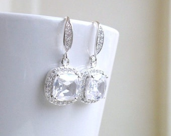 Cushion CZ Halo Rhinestone Dangle Hook Silver Earrings IEC1P