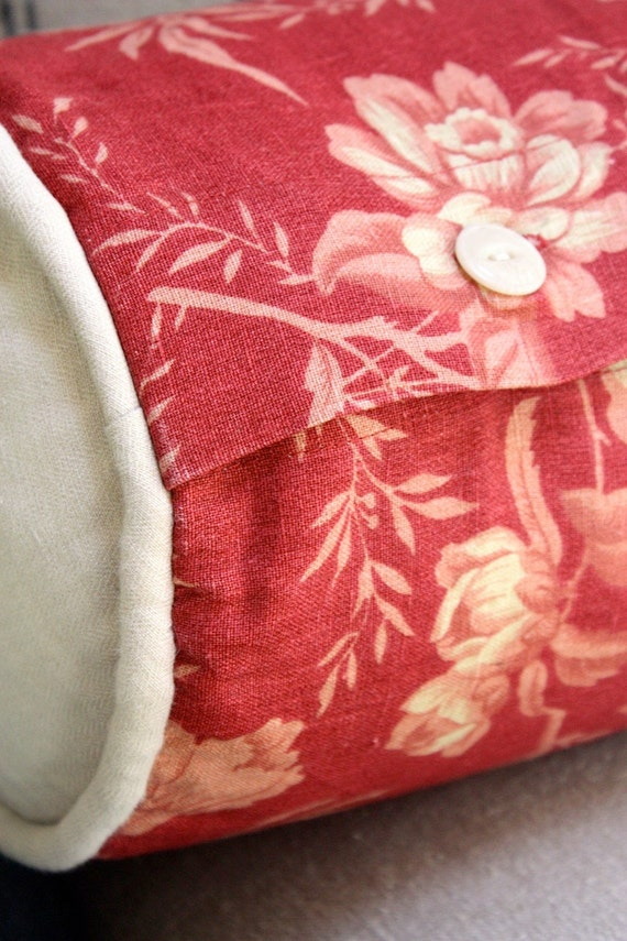 Long Decorative Roll Pillows : Gorgeous red floral neck roll pillow with by mysweetsavannah