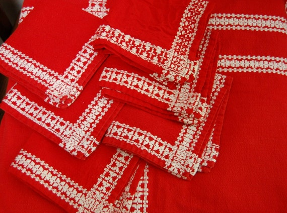 SALE:  Vintage Red and White Embroidered Tablecloth and 6 Napkin Set Christmas