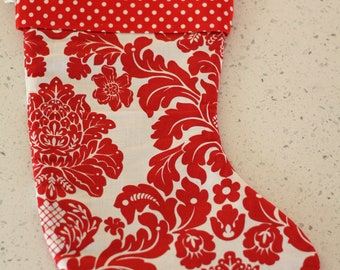 Christmas Stocking - Red and White Damask