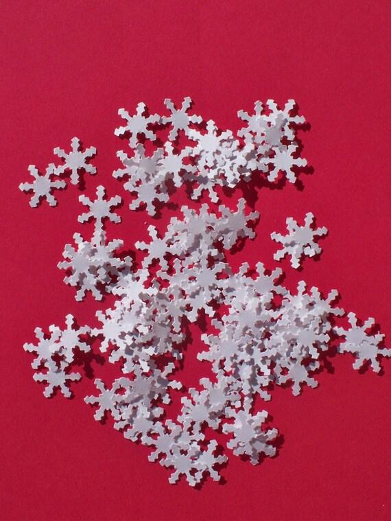 Die Cut Paper Snowflakes, Medium, White, Handpunched, 100