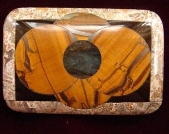 Tiger Eye/Labradorite/Obsidian Belt Buckle with Lace Agate Border