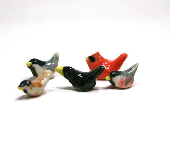 birdl figurine - songbird mixed set - porcelain miniature animal