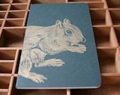 letterpress squirrel notebook linocut illustration