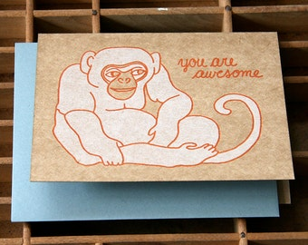 letterpress monkey awesome card