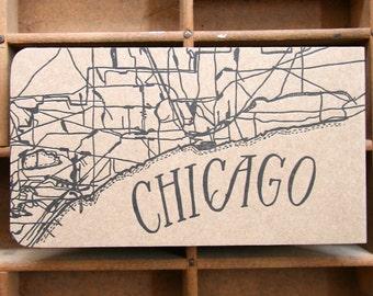 letterpress Chicago map notepad
