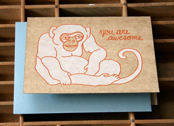 letterpress monkey awesome card