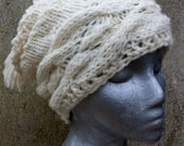 Slouch Hat in Winter White with Tassel