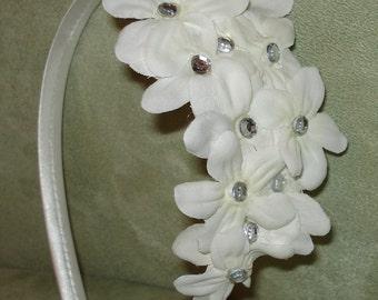 Bridal Hair Wedding Hair Flower Girl Headband Flower Crown Fascinator White Stephanotis with Rhinestones