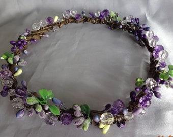 Bridal Hair Wedding Hair Coachella Woodland Crown Violet Hair Wreath Boho