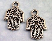 TierraCast Hamsa Hand Charm, Antique Silver 2-Pc. TS39