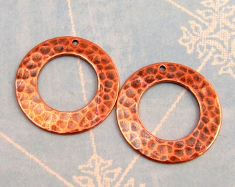 Hammered Ring Trinity Brass Antique Copper 2 Pc. AC117