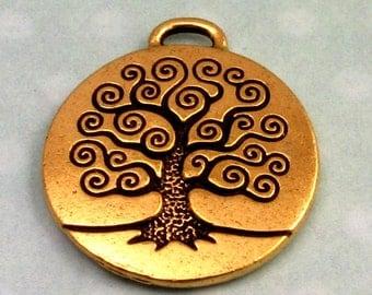 TierraCast Tree Of Life Pendant, Antique Gold TG16