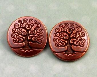 TierraCast Tree Of Life Button Antique Copper 2-Pc. TC12