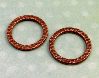 Large Round Link, Antique Copper, TierraCast Hammertone, 2-Pc. TC23