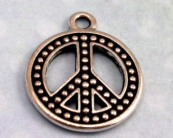 TierraCast Beaded Peace Pendant, Charm Antique Silver TS47