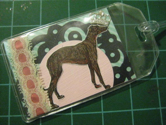 Vintage-style Greyhound Luggage, Bookbag, or Dog Crate Tag
