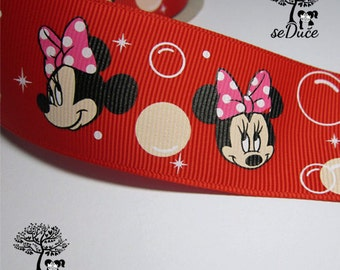 2 yards Minnie on Red Printed Grosgrain Ribbon 1.5 inches wide