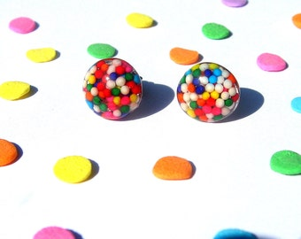 Round Sprinkles Earrings, Studs, Rainbow Candy, Kawaii