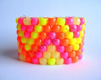 Neon Glow Kandi Cuff, Zig Zag Raver Plur, Glow in the Dark Zigzag Bracelet, Pink, Orange, Yellow