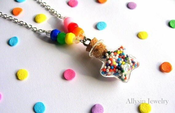 Rainbow Bottle Necklace - Star Sprinkles Potion - Candy Jewelry