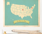 Choose Your Country, Personalized Vintage Map Wall Art 11X14, Inspirational Kids Decor, Nursery Room Decor, Kids Art, Nursery