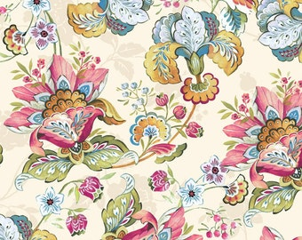 Splendor II Multi Color Flowers Fabric 1 Yard