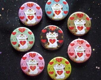 """Maneki Neko Japanese Lucky Cats I Heart Being Lucky 1.25"""" Magnets or Pinback Buttons - Set of 8"""
