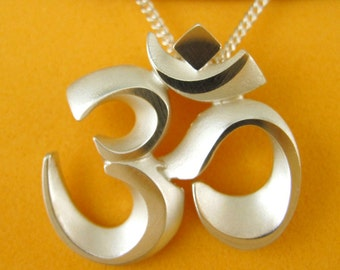 Silver OM Aum Necklace, Faceted AUM Pendant with Chain - OM Adornment Collection