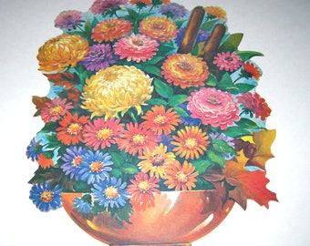 Vintage 1950s Die Cut Cardboard Decoration with Autumn or Fall Flowers in Vase by Dennison
