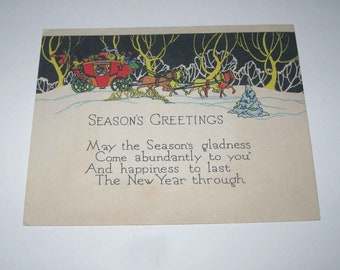 Vintage Art Deco Christmas Greeting Card with Horse Drawn Carriage or Horse and Buggy and Winter Scene