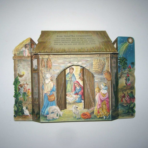 Vintage Religious Nativity Christmas Ornament: Vintage Ornate Christmas Fold Out Greeting Card With Religious