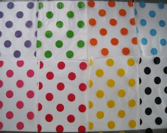 Kawaii polka dot plastic gift bags in assorted color - set of 50 bags - 3x5 inches