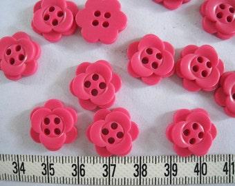 25  pcs of Pink Flower Button