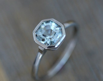 Asscher Cut Aquamarine and 14k Palladium White Gold Ring, Unique Gemstone Solitaire, Diamond Alternative Engagement March Birthstone Jewelry
