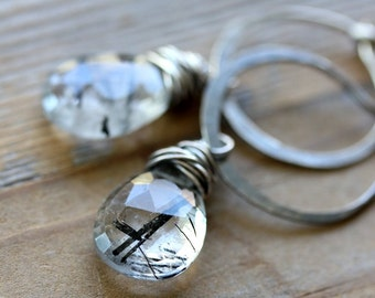 Tourmalinated  Quartz Gemstone Dangle Earrings, Sterling SIlver Hoop Earrings