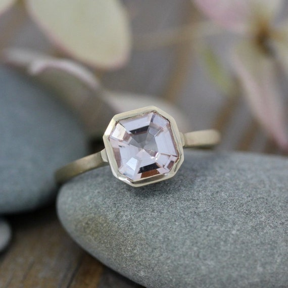 Morganite Gemstone Ring, Asscher Cut Morganite in 14k yellow Gold, Engagement  Ring or Right Hand Ring, Made To Order
