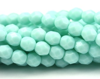 Czech Glass Beads Fire Polished Faceted Rounds 6mm Opaque Pale Jade (25) CZF501