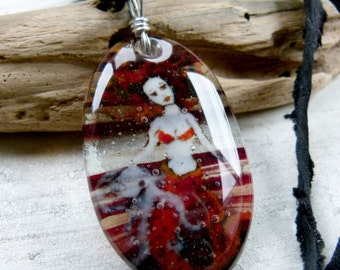 Amazing Mermaid and octopus in the water necklace - fused glass pendant, mermaid jewelry