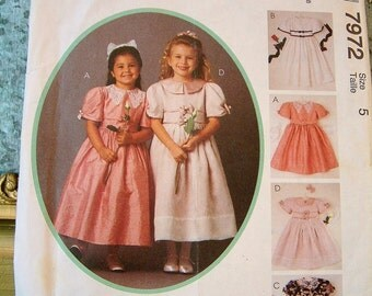 Vintage 1990's Girls Dress Size 5 Fancy Dress Formal Empire Dress McCalls 7972 Pattern UNCUT Flower Girl Dress Easter Dress Wedding Party