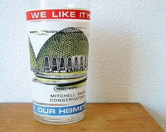 Mid Century Wisconsin Souvenir Cup Vtg Drinking Glass Mug Architectural Conservatory Printed Commemorative Cup Pen Holder Retro Americana