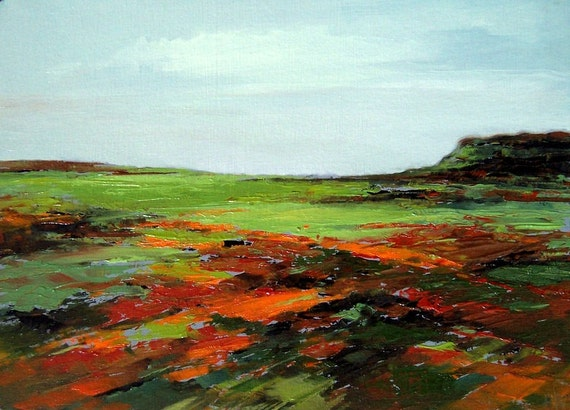 SWEEP, original painting 100% charity donation oil painting landscape, 5x7 art board, field, cliffs