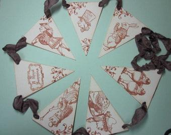 Petite Vintage Style Pennant Banner - Alice In Wonderland - Garland - Tea Party