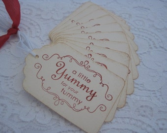 Handmade Vintage Style Gift Tag For Baked Goods - A Little Yummy for your Tummy