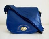 Leather Purse Messenger Handbag Cross Body Blue