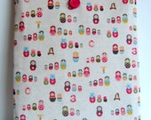 Ipad cover cozy sleeve padded in japanese russian doll fabric fits all ipad 1 2 3 4
