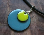 Enamel Necklace, Apple Yellow and Delft Blue Pendant, Copper Enamel Jewelry, Stacked Circle Jewelry, Prairie Style