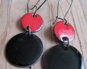 Red and Black enamel dangle earrings chandelier earrings drop earrings copper nickle free kidney earwire
