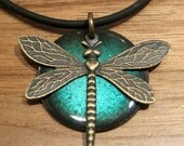 Dragonfly Necklace, Luminous Blue, Copper Enamel Jewelry, Pendant, Gardener Gift