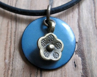 Blue Enamel Necklace, Enamel Flower Necklace, Copper Enamel Jewelry, Delft Blue Necklace, Blue Jewelry
